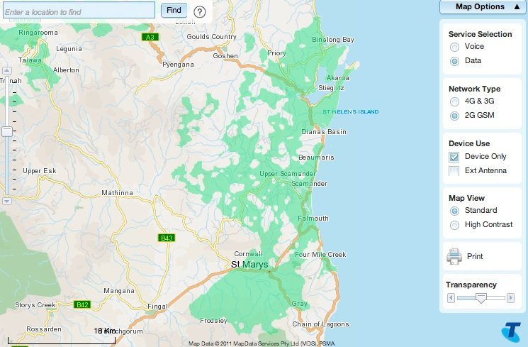 Telstra 2G coverage map northern tasmania