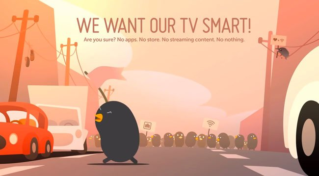 LG's Bean Bird mascot prompts users to configure Internet access if they skip it during setup