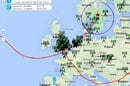 The path of the balloon yesterday as it returned to UK airspace