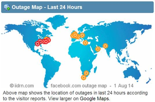 Facebook outage map