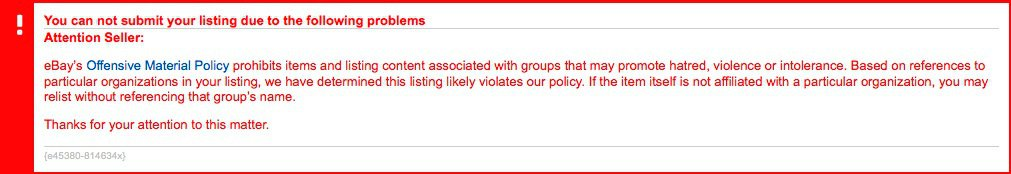 Warning message about eBay's Offensive Material Policy