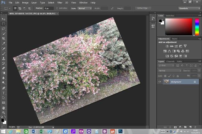 Photoshop on a Surface Pro 3 desktop