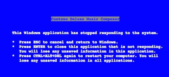 Steve Ballmer's Blue Screen of Death text