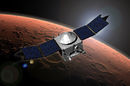 Artist concept of MAVEN in orbit around Mars