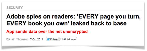 Screenshot of our previous headline