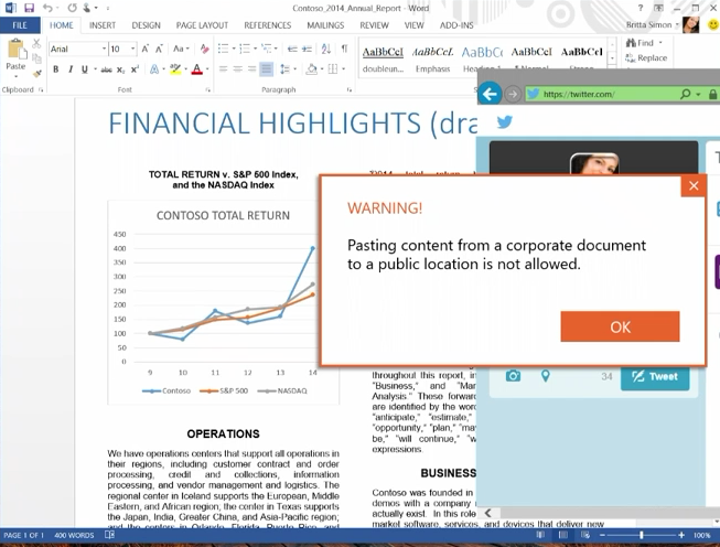 Preventing copy of corporate data in Windows 10