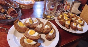 Selection of eggs on the bar