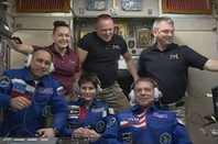 The full Expedition 42 crew aboard the ISS