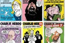 Montage of front covers from Charlie Hebdo magazine