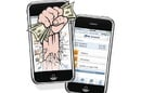 Cartoon of fist clutching dollars smashing out of smartphone