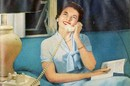 1950s style illustration - Smiling woman talks into rotary phone