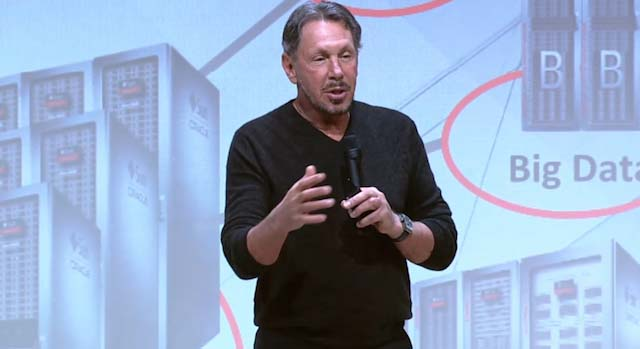 Larry Ellison on phase at the commence of Oracle's X5 engineered systems range