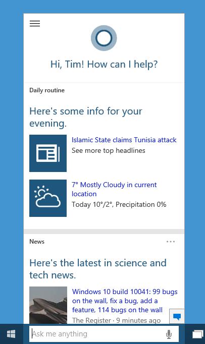 Cortana on windows 10 is all talk no apps shun says microsoft