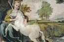 Unicorn. Detail from Domenico Zampieri fresco in Rome