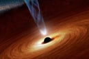 Black hole - spaghetti visualisation. Artist's impression.  NASA/JPL-Caltech, CC BY-SA
