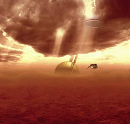 Huygens en route to Titan's surface Image: ESA