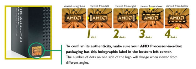 AMD boxed processor hologram