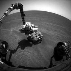 Opportunity checks out the rock with its Right Front Hazard Camera