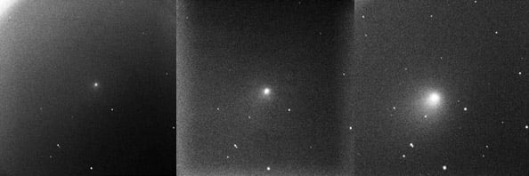 Comet Tempel-1 getting brighter after impact. Images: Faulkes