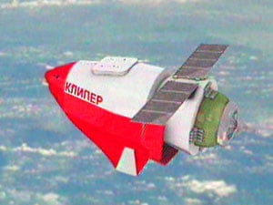 Artists' impression of the Kliper spacecraft in orbit