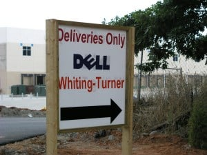 Delivery sign at Dell plant