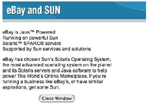Photo of ebay and Sun ad