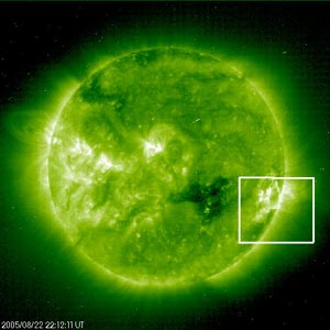 SOHO satellite image of the double CME on Aug. 22