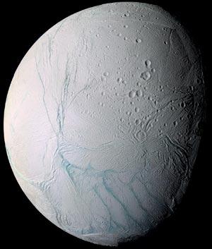 Enceladus: A baffling moon. Picture: CICLOPS