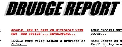 Drudge report headine touting the Sun and Google deal