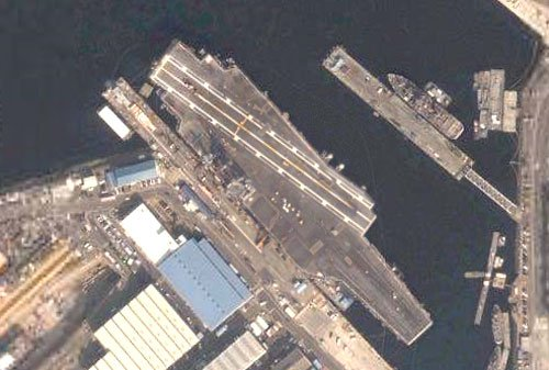 USS Kitty Hawk at home in Yokosuka, Japan