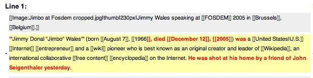 Photo of WIkipedia edit of Jimbo's death