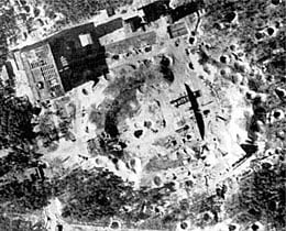 The V2 launch site after RAF bombing
