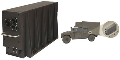 Photo of the compact PowerBlock 200 in a military truck