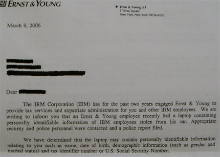 Ernst and Young's letter to IBM staffer