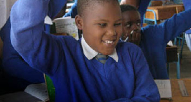 Visually impaired kids in Kenyan classroom