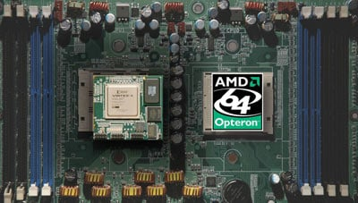 A motherboard with DRC and Opteron chip