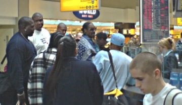 Snoop Dogg and his entourage at Heathrow