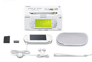 White Sony PSP Handheld Console Value Pack