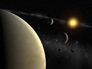 Artist view of planetary system around HD69830