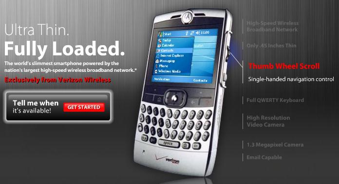 Verizon claims Motorola Q exclusive • The Register