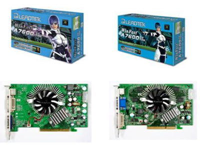 leadtek ago nvidia geforce 7600-based boards