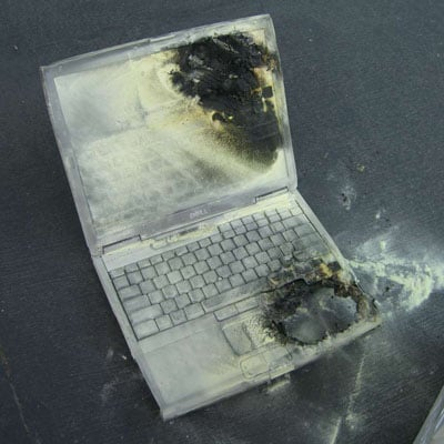 dell laptop burning