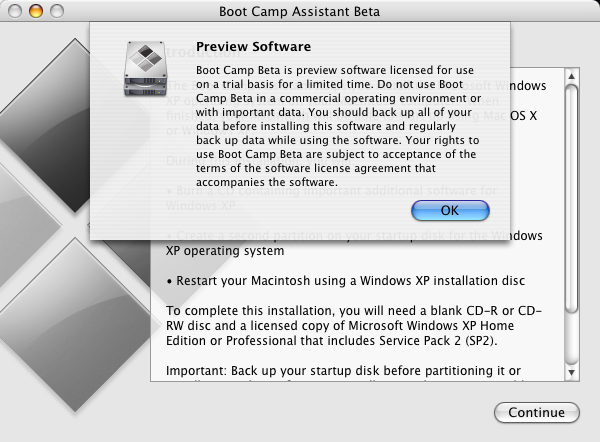 windows on mac - bootcamp installation