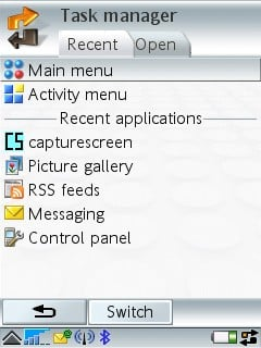 P990i's Task Manager - choose your pane