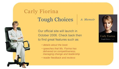 A screengrab of Carly from her web site
