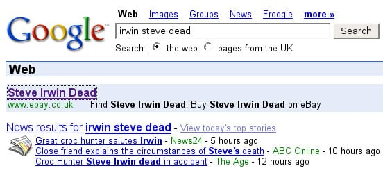 Buy Steve Irwin dead on eBay