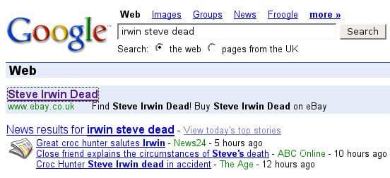Buy Steve Irwin dead on eBay