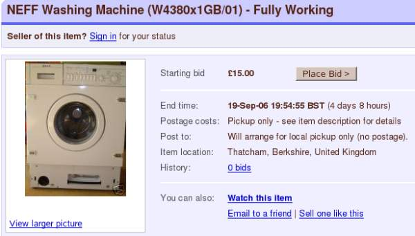 For sale: one washing machine
