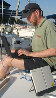 Guy Kewney and the Inmarsat Broadband Global Area Network satellite modem