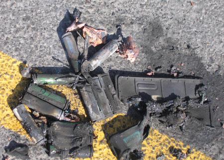 a laptop's battery burns